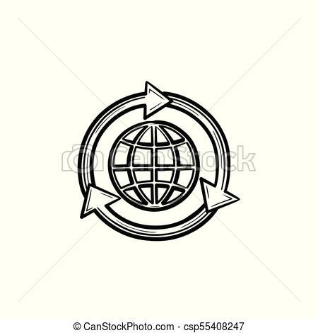 450x470 Globe In Circular Arrows Hand Drawn Sketch Icon. Globe In Arrows