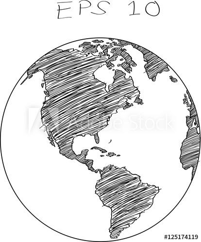 414x500 World Map Globe Vector Line Sketch Up Illustrator, Eps 10.