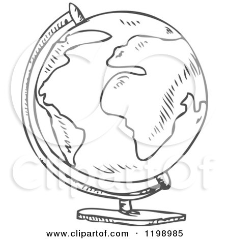 450x470 Cartoon Of A Black And White Desk Globe Doodle Sketch