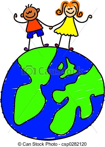 335x470 Globe Kids. Two Little Kids Holding Hands On The Globe.