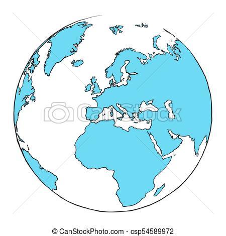 450x470 Outline Globe Focussed On Europe, Hand Drawn Outline Illustration