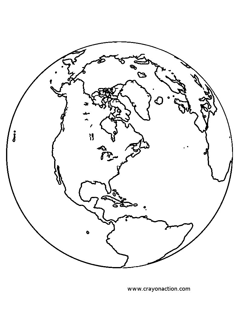 790x1025 Earth Coloring Pages Globe Page Crayon Action Coloring Drawing