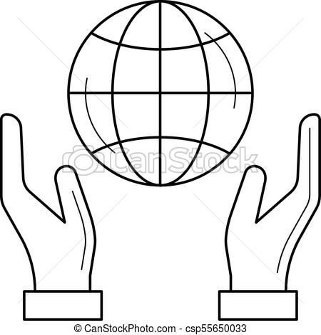 450x469 Hands Support Earth Globe Vector Line Icon. Hands Support Earth