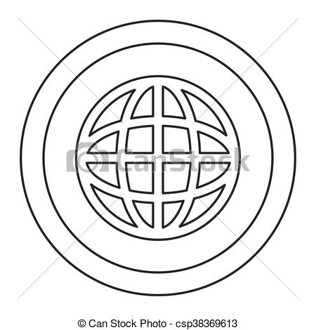 450x470 Simple Flat Design Earth Globe Diagram Inside Circle Icon Vector