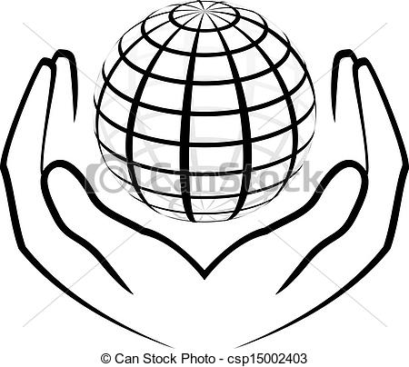 450x404 Vector Illustration Of Hands Holding A Globe Vector Clipart
