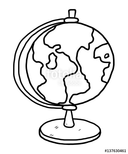 417x500 Globe Model Cartoon Vector And Illustration, Black And White