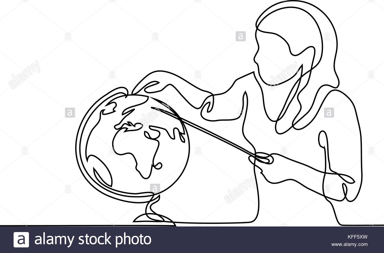 1300x858 Teacher With Pointer And Globe. Continuous Line Drawing Vector