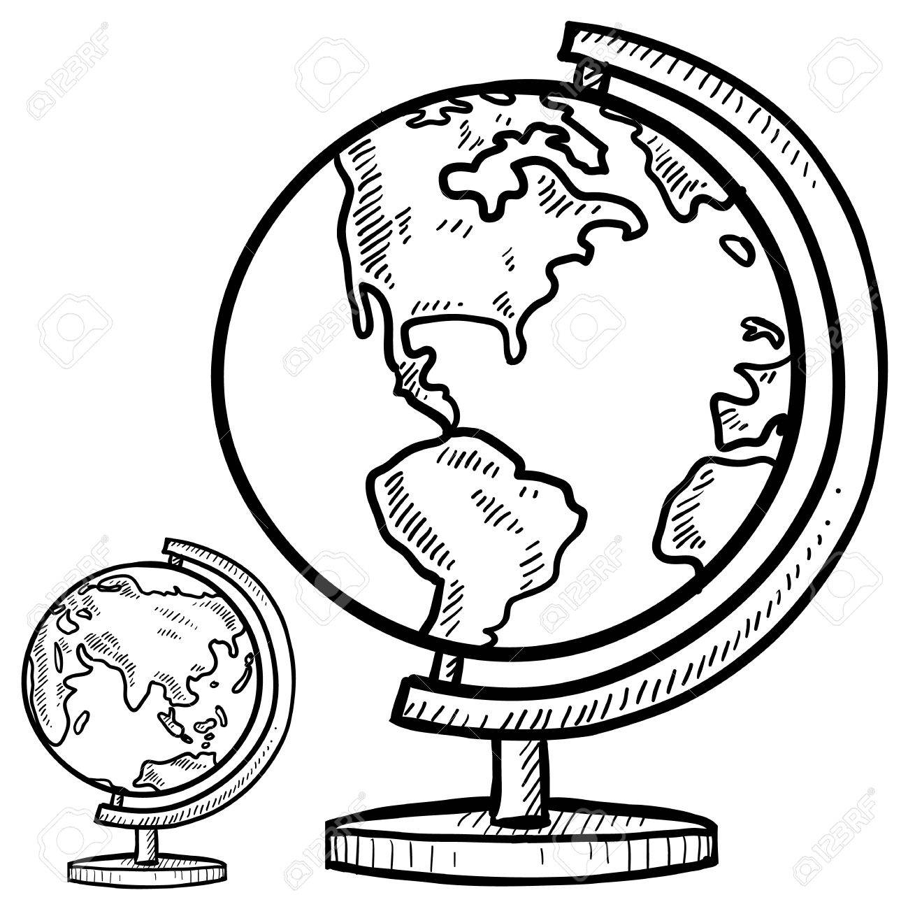 1299x1300 Drawing Of Globe Doodle Style Globe Illustration In Vector Format