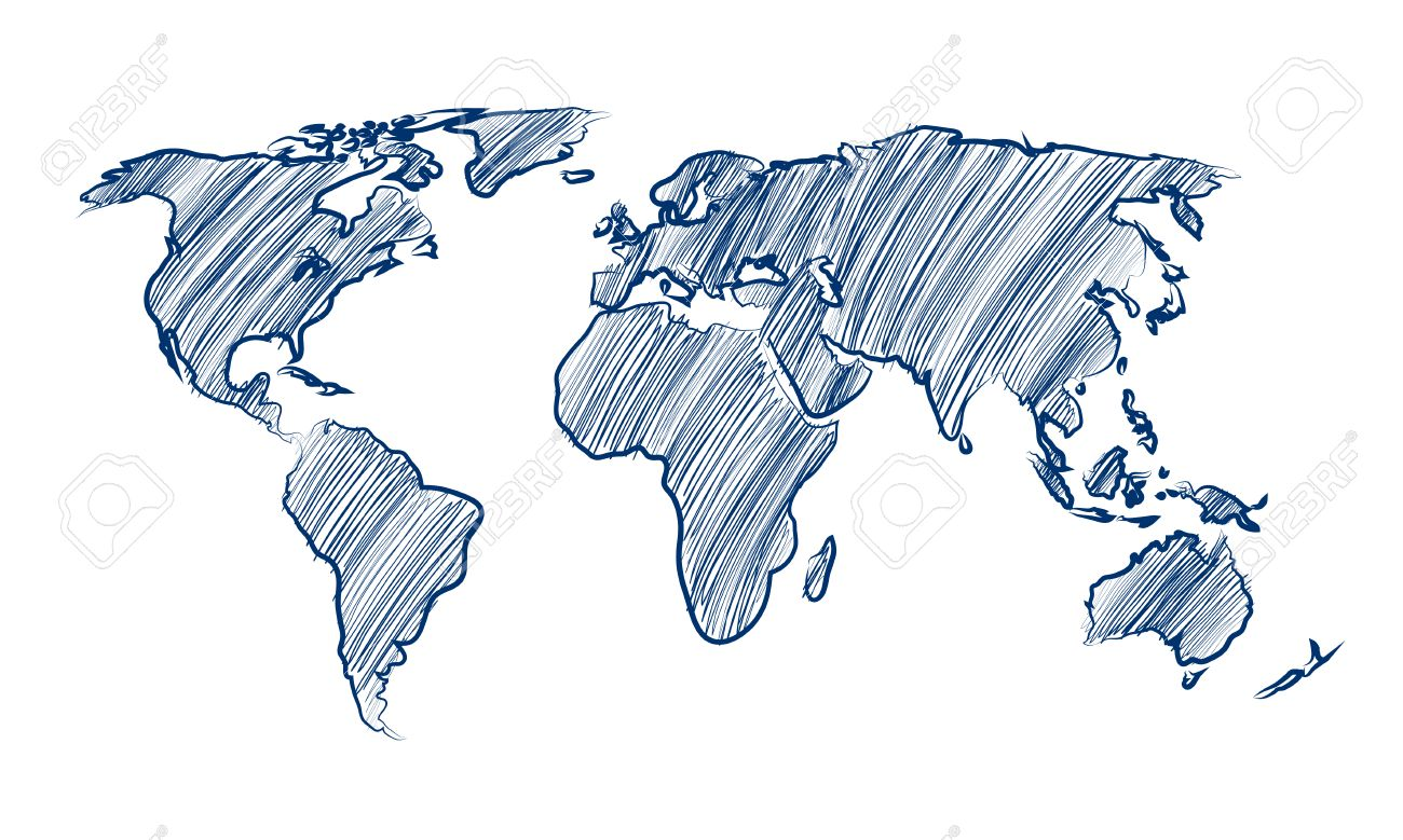 1300x779 World Map Globe Hand Drawn Vector Illustration Royalty Free