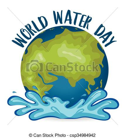 427x470 World Water Day Concept With Globe. Vector Illustration. Eps