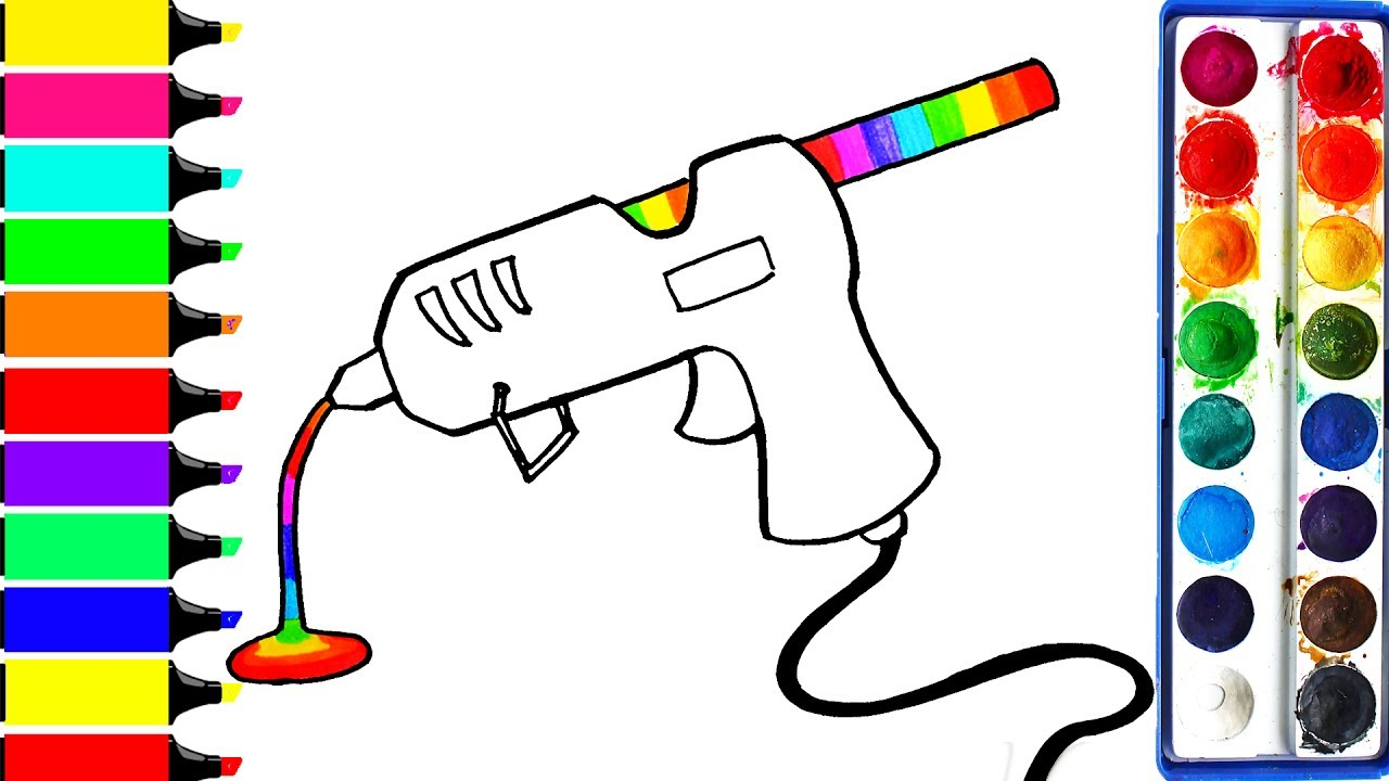 1280x720 How To Draw Rainbow Glue Gun Coloring Glue Learning Drawing