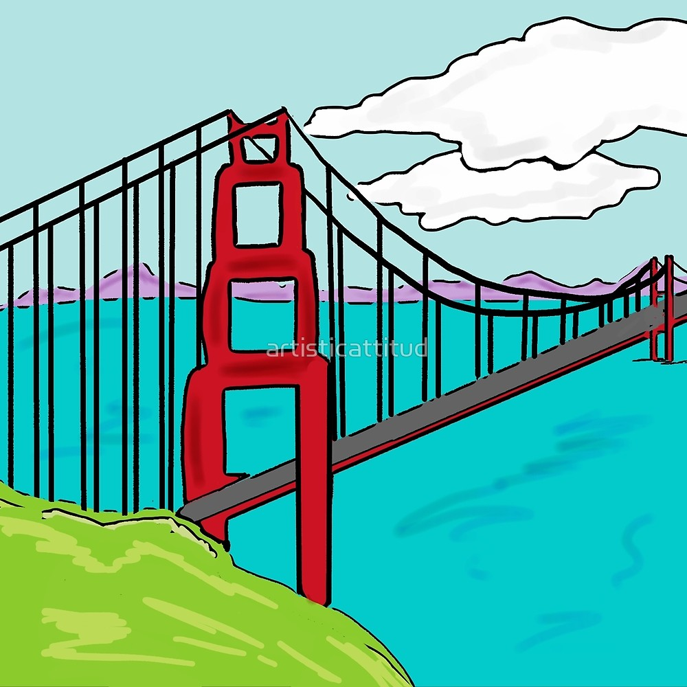 1000x1000 Colorful Golden Gate Bridge California Drawing By Artisticattitud