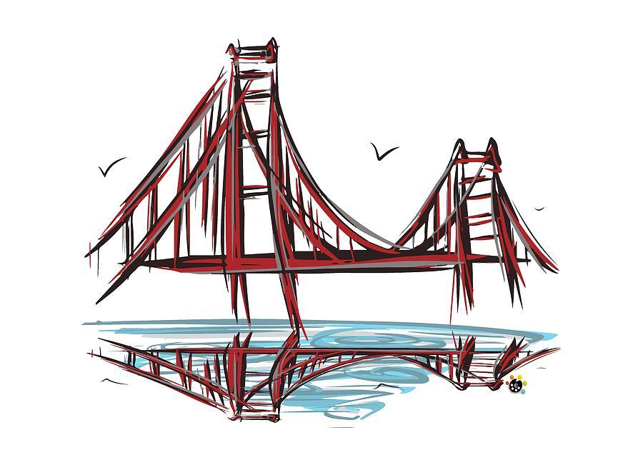 900x651 Golden Gate Bridge Digital Art By Devon Leboutillier