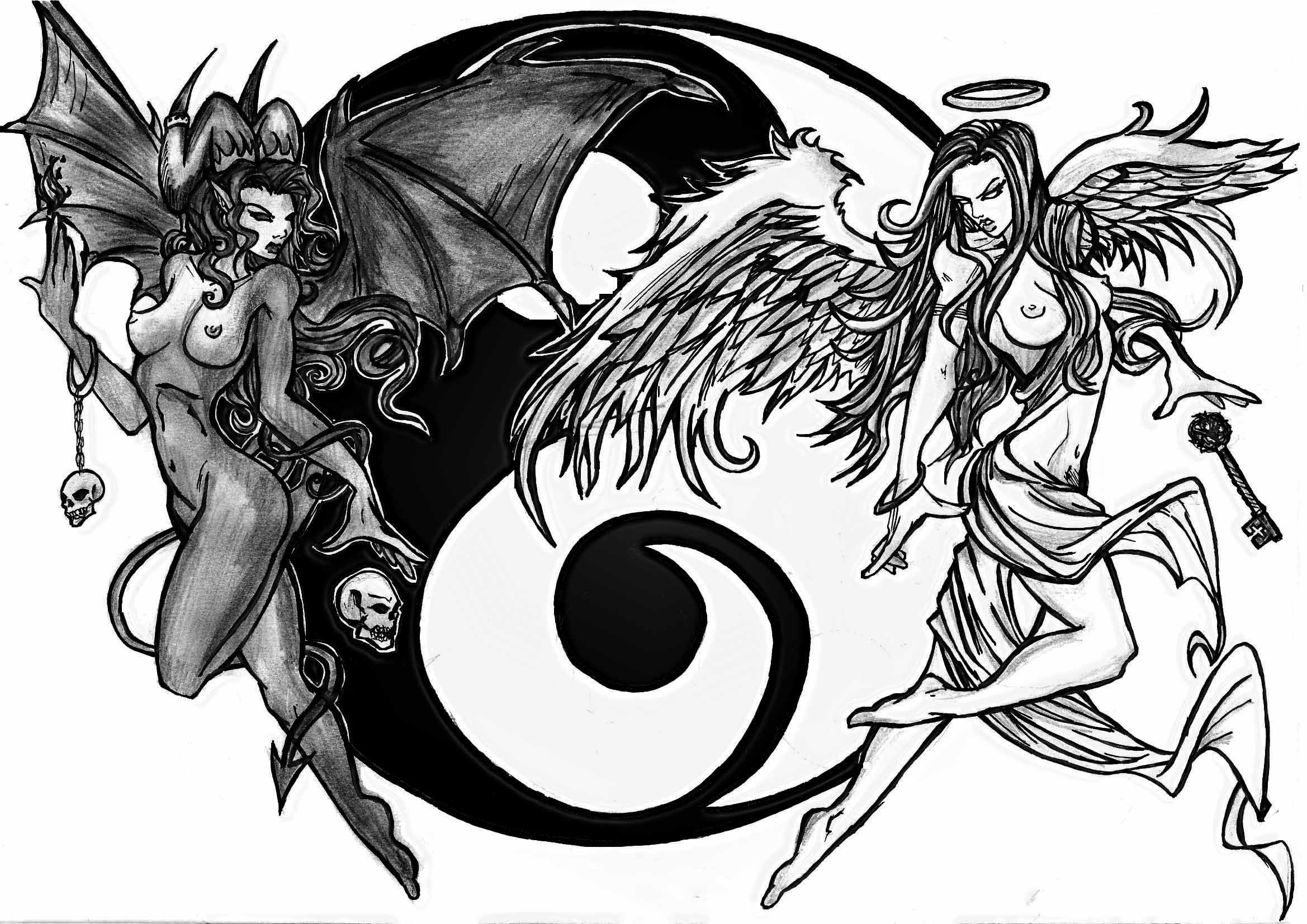 2338x1654 Good Vs Evil, Yin And Yang, On Good Side Is