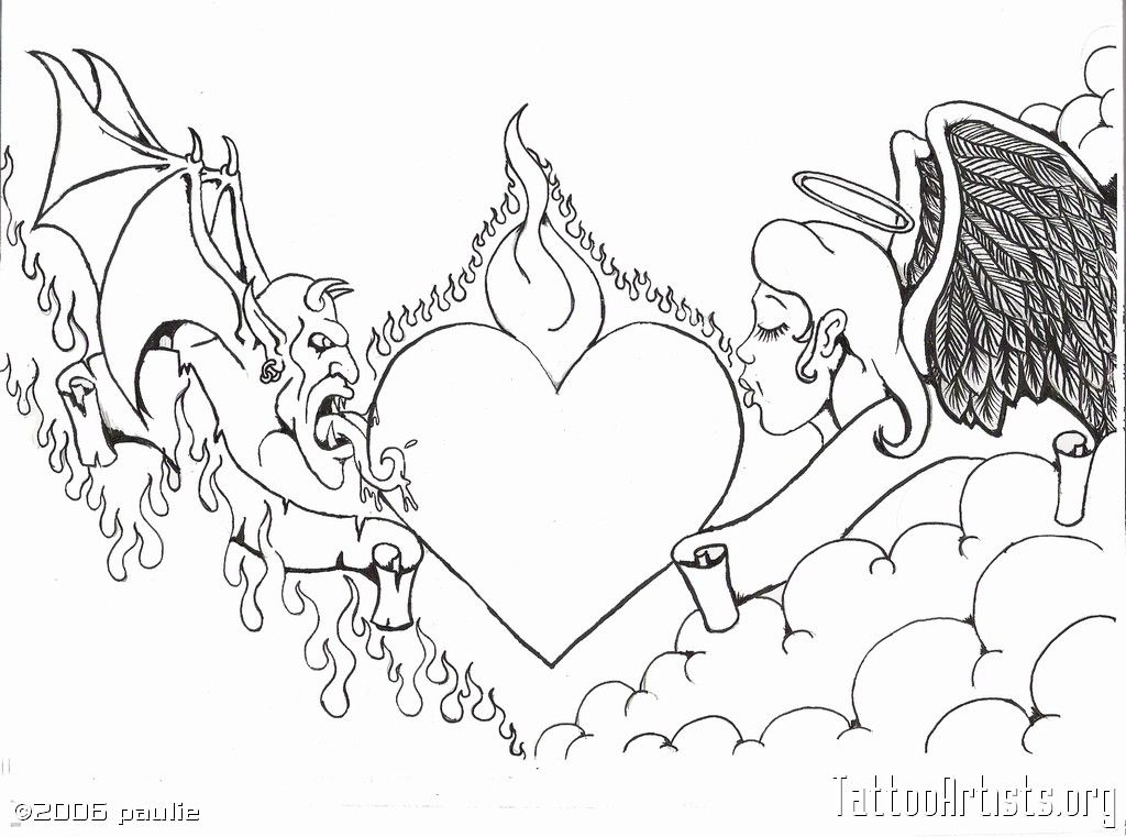 1024x761 Similar Collection For Good Vs Evil Tattoo Drawings Picture Evil