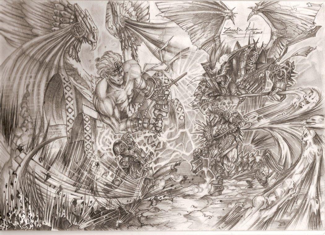 1050x761 Good Vs Evil By Zadov