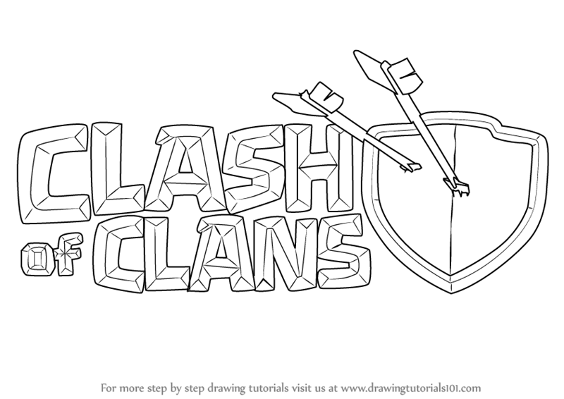 800x566 Learn How To Draw Clash Of Clans Logo (Clash Of The Clans) Step By