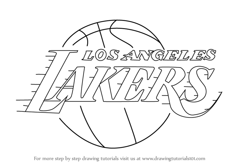 800x565 Learn How To Draw Los Angeles Lakers Logo (Nba) Step By Step