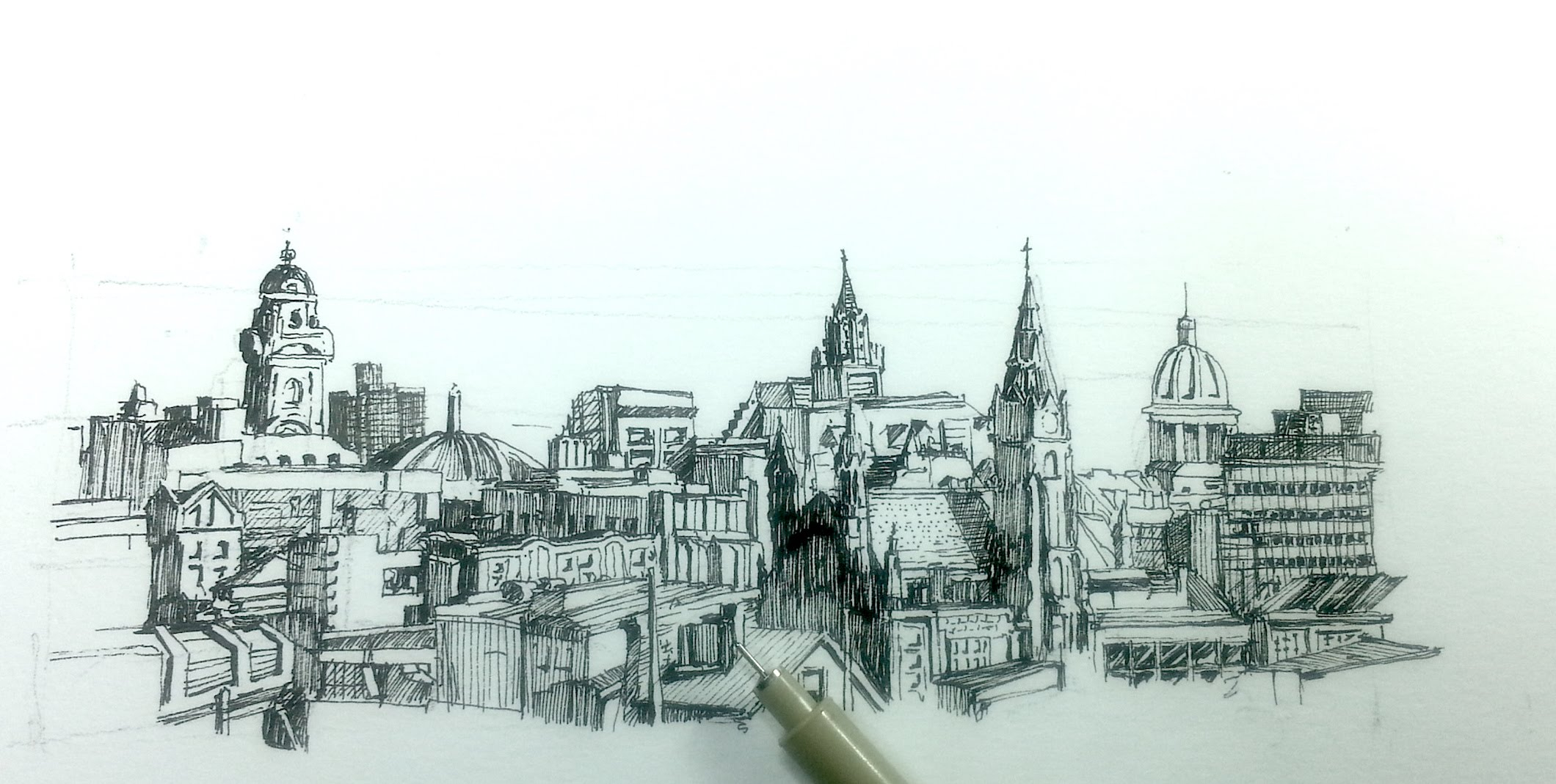2120x1069 City Skyline Drawing How To Draw A Panoramic City Skyline