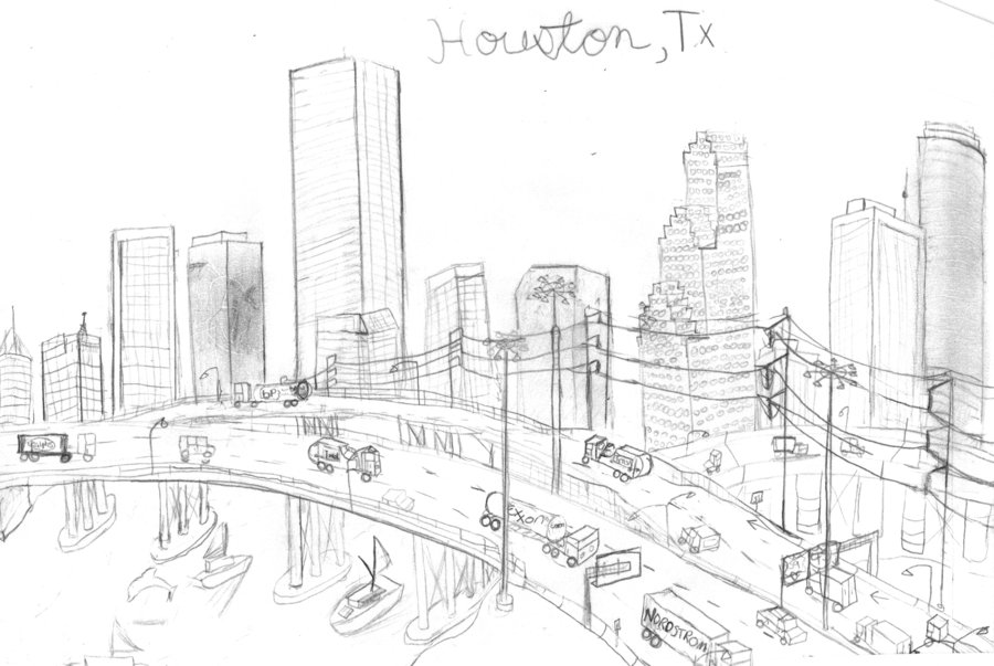 900x603 Collection Of Houston City Skyline Drawing High Quality
