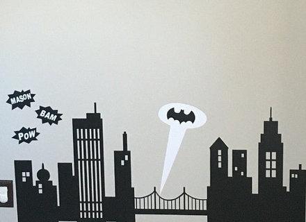 440x320 46 Gotham City Wall Decal, City Wall Decal Batman Gotham City