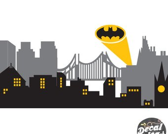 340x270 Gotham City Wall Decal Superhero Wall Decal Avengers Room