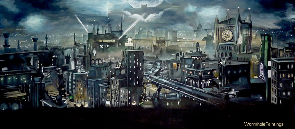 1024x450 Gotham City By Wormholepaintings