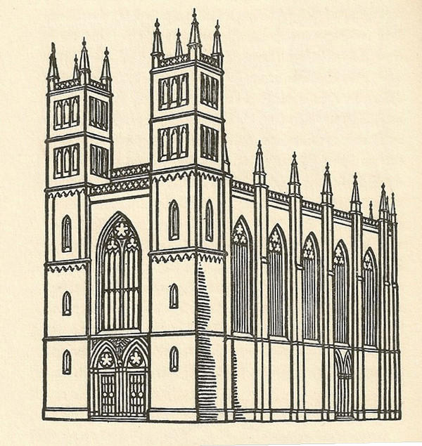 600x635 Simple Gothic Architecture Drawing