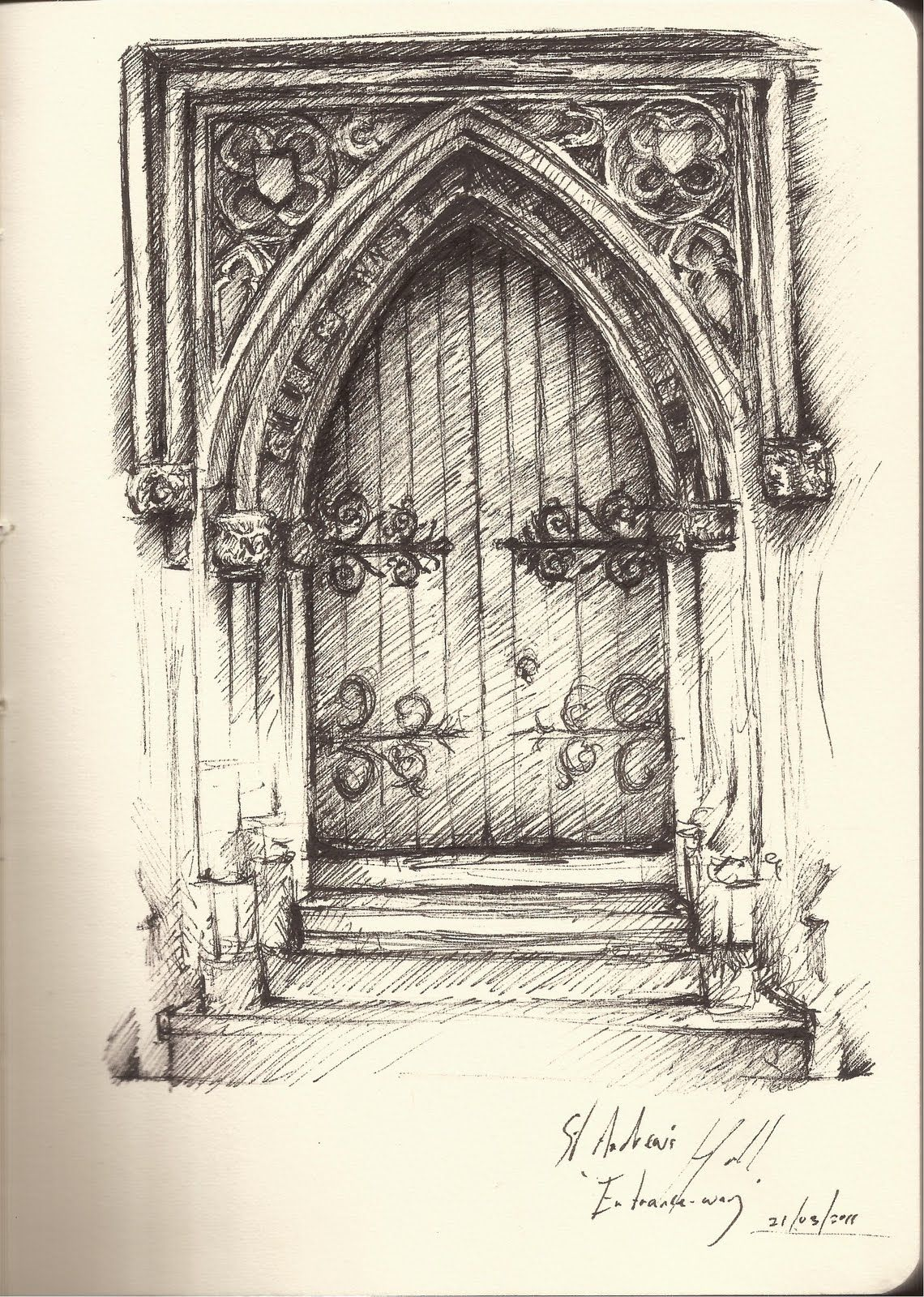 1140x1600 Gothic Architecture Drawing