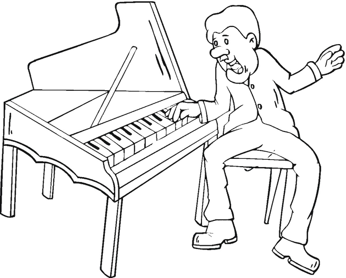1200x964 Piano Coloring Pages