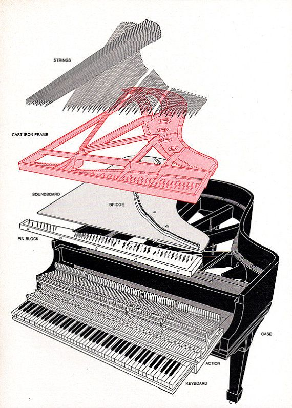 570x796 1979 Exploded Grand Piano Steinway Technical Drawing Illustrated