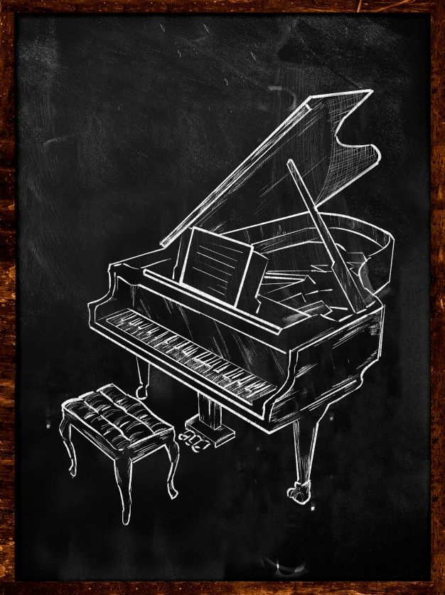 626x836 Grand Piano Drawing On Blackboard Music Photo Free Download