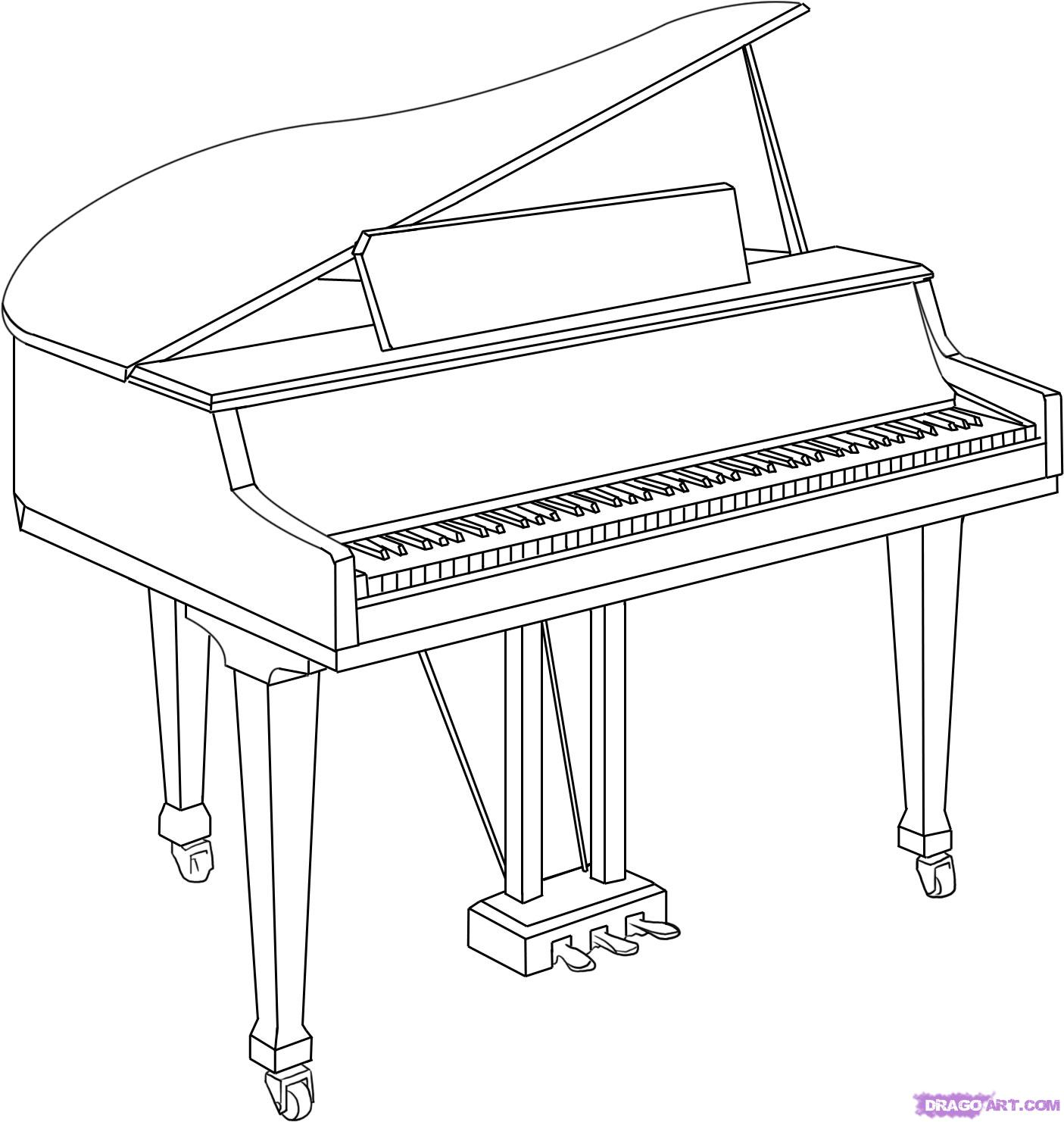 1405x1481 Collection Of Grand Piano Line Drawing High Quality, Free