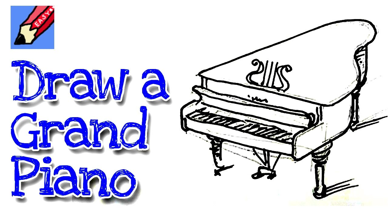 1280x720 Learn How To Draw A Grand Piano Real Easy For Kids And Beginners
