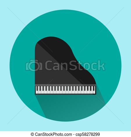 450x470 Top View Of Black Grand Piano On Green Background, Isolated Vector