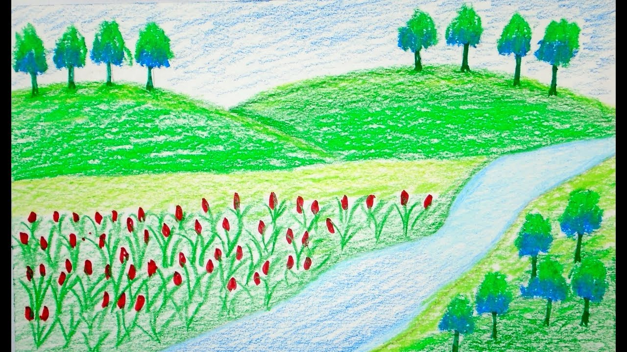 1280x720 Drawing Scenery Of Mountain, Scenery Kids, Scenery
