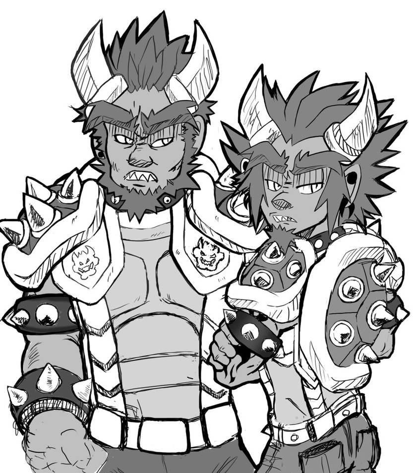 837x954 Grayscale Bowser And Bowser Jr By Cheekysoup4u