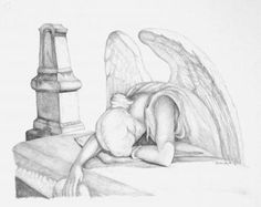 236x187 Angel Of Grief Digital Drawing Of Tomb Stone By Wristonwheeler