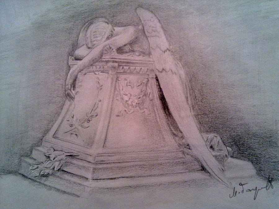900x675 Angel Grief Drawing By Milan Garcevic