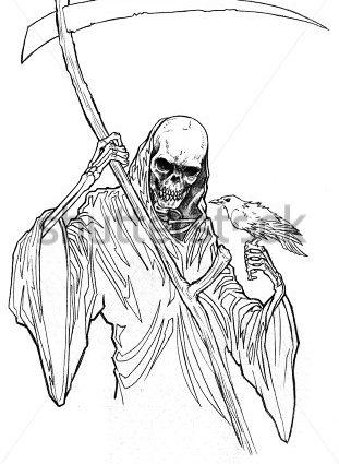311x425 Grim Reaper Coloring Pages Drawn Grim Reaper Line Drawing Pencil