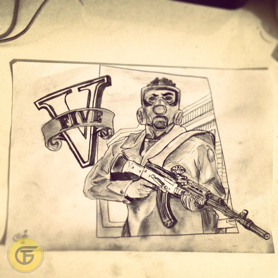 894x894 Grand Theft Auto V Drawing 2 Poster Trailer By Thefiloguy