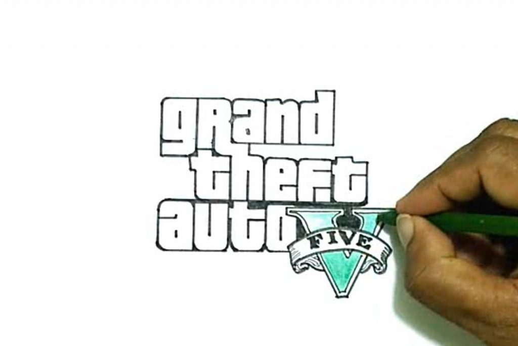 1024x684 How To Draw The Grand Theft Auto V (Gta 5) Logo How To Draw Stuff