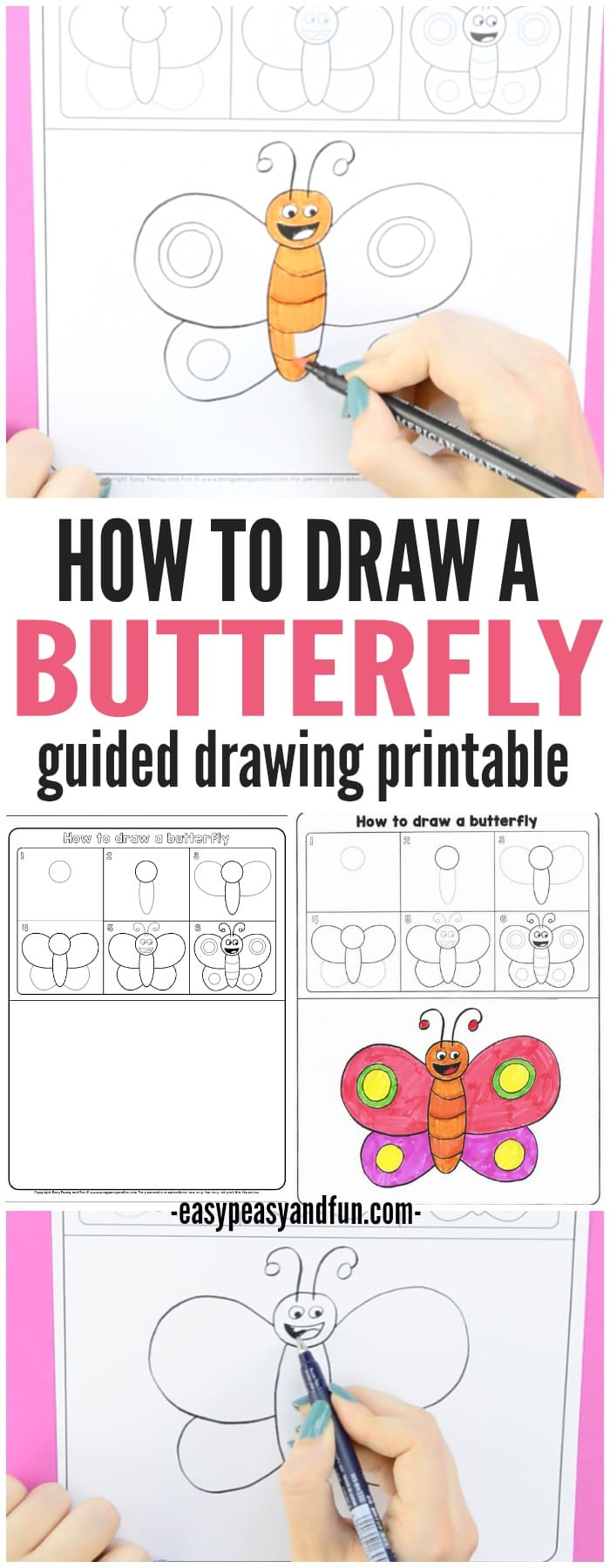 700x1800 How To Draw A Butterfly Step By Step For Kids + Printable