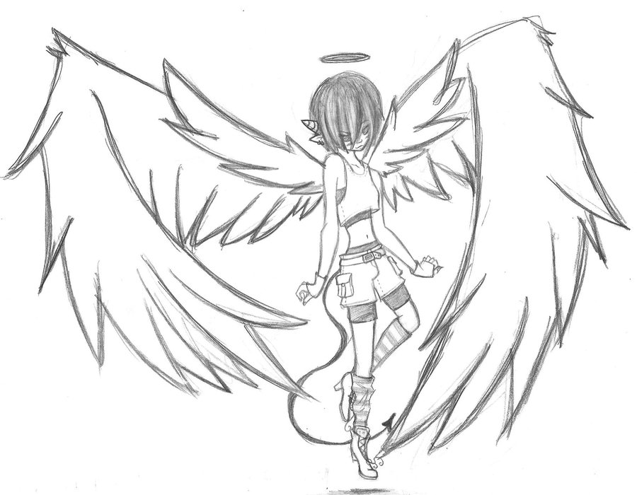 900x700 Collection Of Angel Vs Demon Drawing Easy High Quality, Free