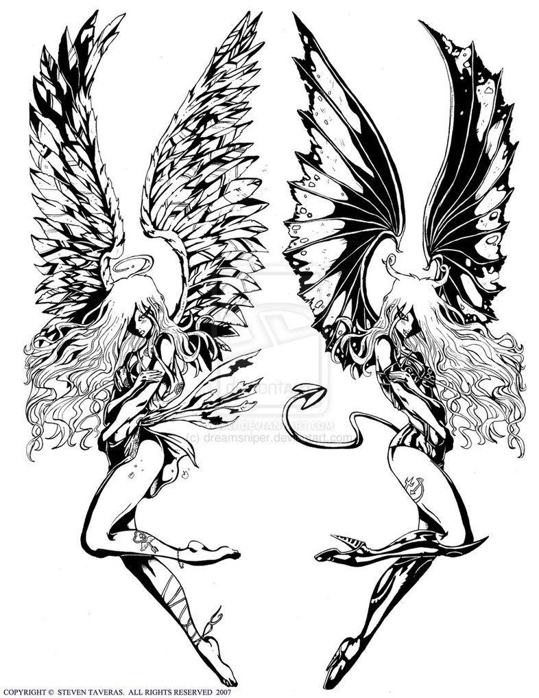 786x1017 Demon And Angel Tattoo Drawings