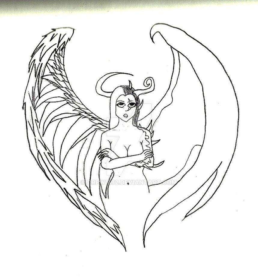 859x929 Collection Of Half Angel Half Demon Drawing High Quality
