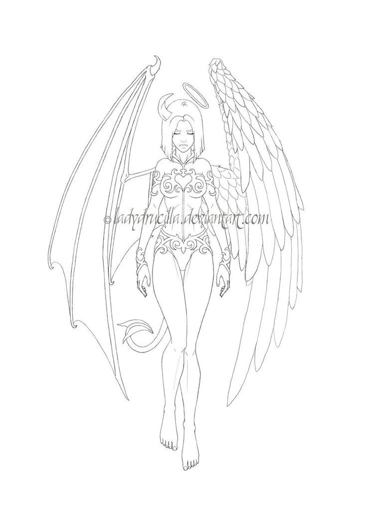 752x1063 Unique Angel Devil Girl Tattoo Stencil By Tash