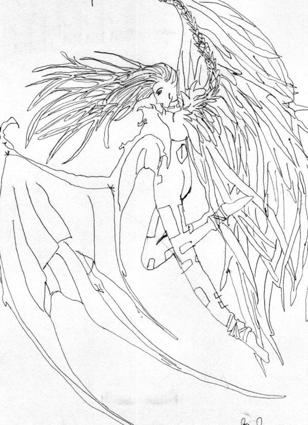 600x826 Collection Of Half Angel Half Devil Drawing High Quality