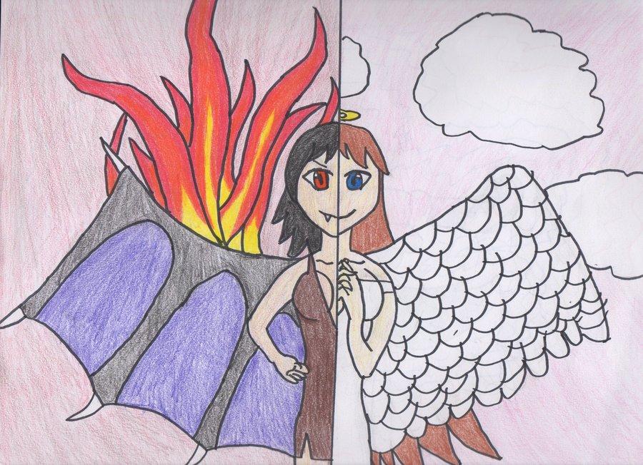 900x652 Collection Of Half Demon Half Angel Drawing High Quality