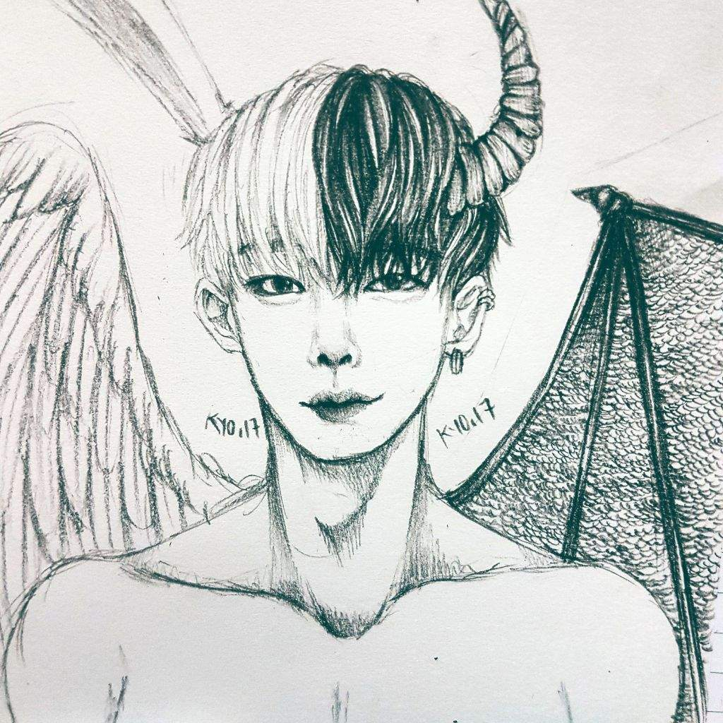 1024x1024 Angel Devil Wonho (Cover Half The Screen To See Each Side! It'S
